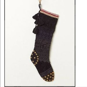 Free People Christmas Stocking Tinsel and Lace